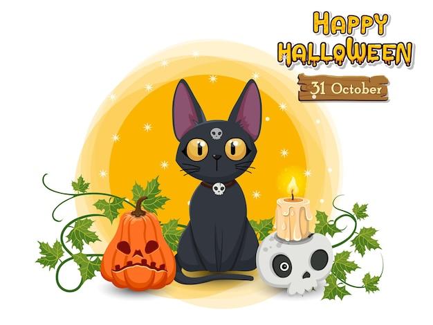 Abóbora de halloween feliz, gato, caveira, vela. elementos do dia do dia das bruxas dos desenhos animados do conceito. ilustração de clipart vetorial