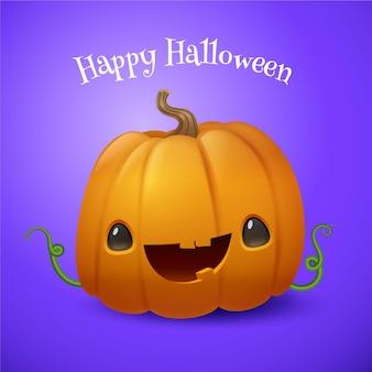Abóbora de halloween fofa com design realista