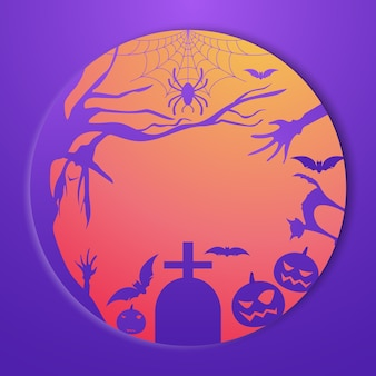 Abóbora de halloween, grave, morcego e elemento assustador