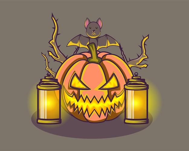 Abóbora de halloween, morcego assustador brilhante