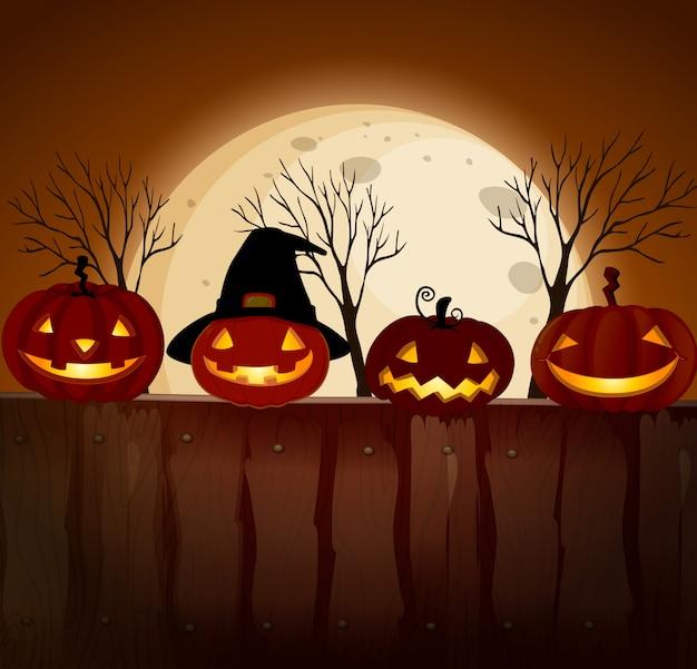 Abóbora de halloween na noite da lua cheia