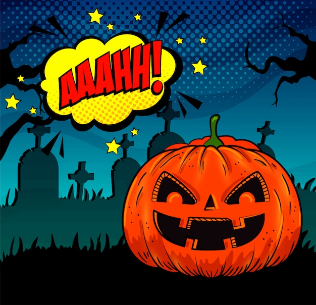 Abóbora de halloween no cemitério no estilo pop-art