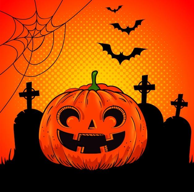 Abóbora de halloween no cemitério no estilo pop-art