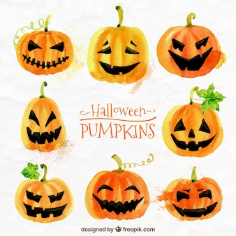 Abóbora de halloween pintada com aguarelas