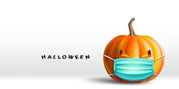 Abóbora de halloween usando uma proteção facial médica para coronavírus ou covid19