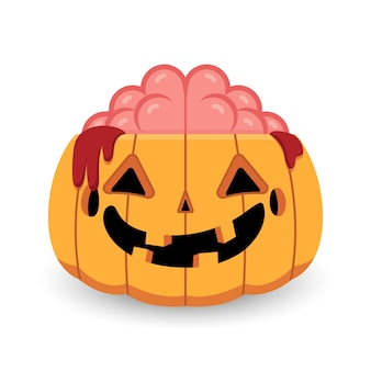 Abóbora de halloween zombie cérebro aberto