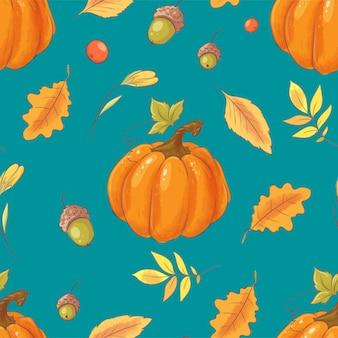 Abóbora de outono sem costura padrão, bolotas, folhas e frutos.