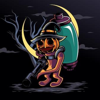 Abóbora de sorriso helloween com ilustração de logotipo de arma