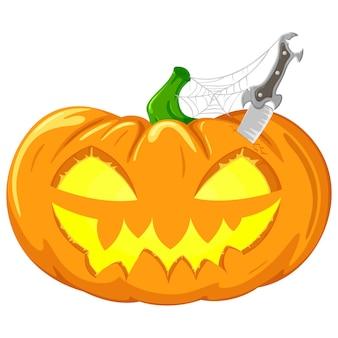 Abóbora de vetor com faca e teia de aranha para festa de halloween.