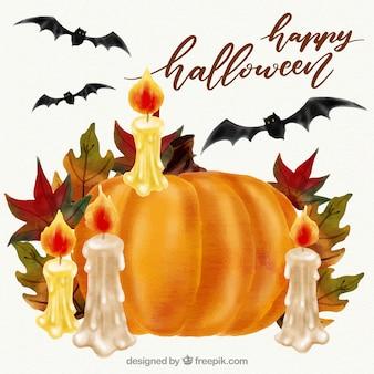 Abóbora decorada com velas e folhas de outono