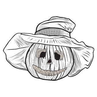 Abóbora desenhada de mão com um chapéu