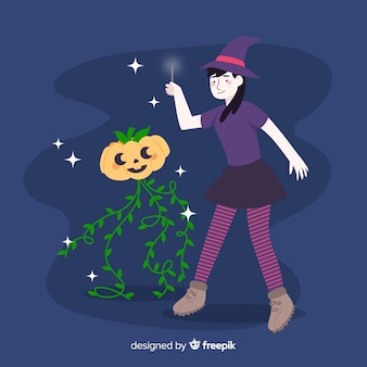 Abóbora e bruxa de halloween bonito