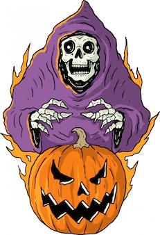 Abóbora e fantasma de halloween