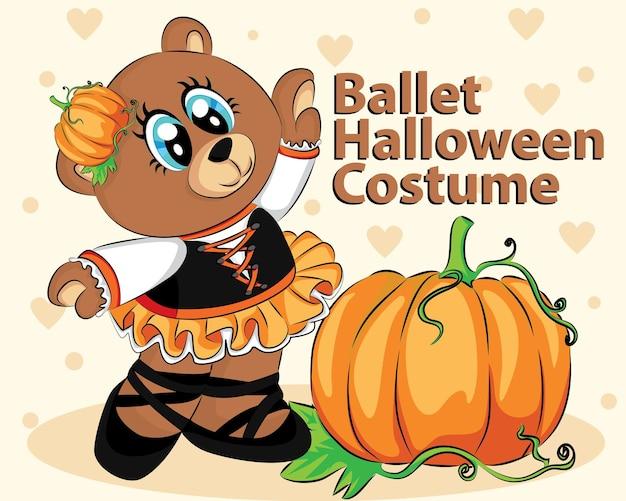 Abóbora e urso fofo com fantasia de balé de halloween