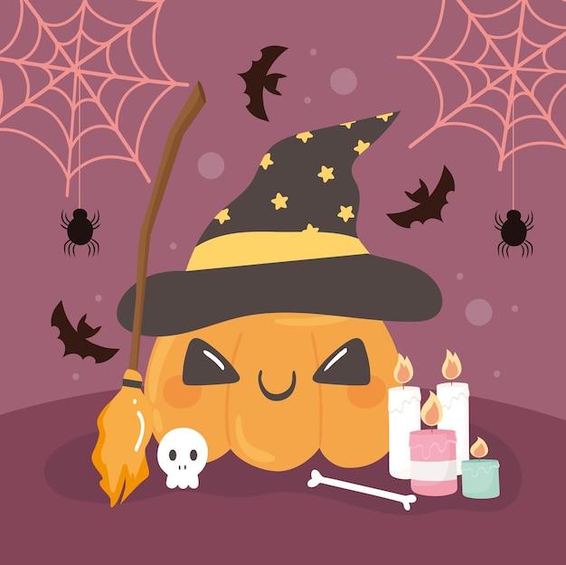 Abóbora engraçada de halloween com chapéu