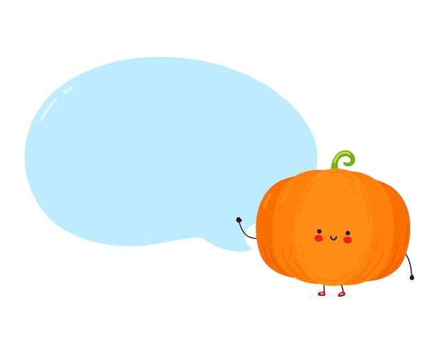 Abóbora engraçada feliz fofa com bolha do discurso. isolado no fundo branco. personagem de desenho animado desenhado à mão estilo ilustração