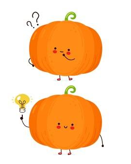 Abóbora engraçada feliz fofa com ponto de interrogação e lâmpada de ideia. isolado no fundo branco. personagem de desenho animado desenhado à mão estilo ilustração