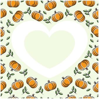Abóbora fruta amor coração moldura com design plano