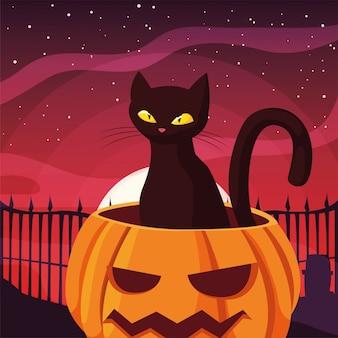 Abóbora gato feliz dia das bruxas celebração