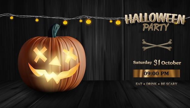 Abóbora iluminada, banner de festa de halloween