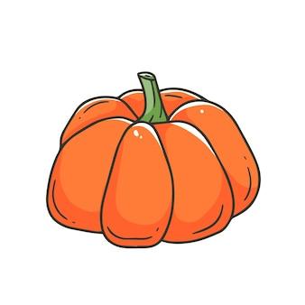 Abóbora laranja em um estilo simples de desenho