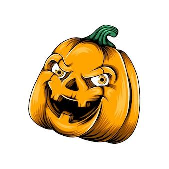 Abóbora monstro amarela com dois olhos amarelos e os buracos no nariz em seu rosto