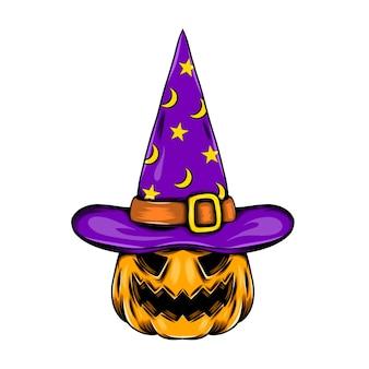 Abóbora monstro usando o chapéu de bruxa roxo cheio de estrelas e lua brilhante