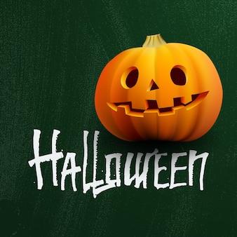 Abóbora na lousa com letras de halloween