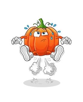 Abóbora peido pulando ilustração. personagem