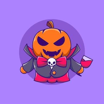 Abóbora vampira fofa com ilustração do ícone dos desenhos animados de suco de sangue