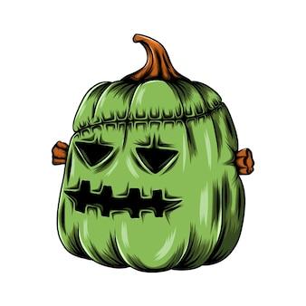 Abóbora verde monstro com tatuagens de costura na testa