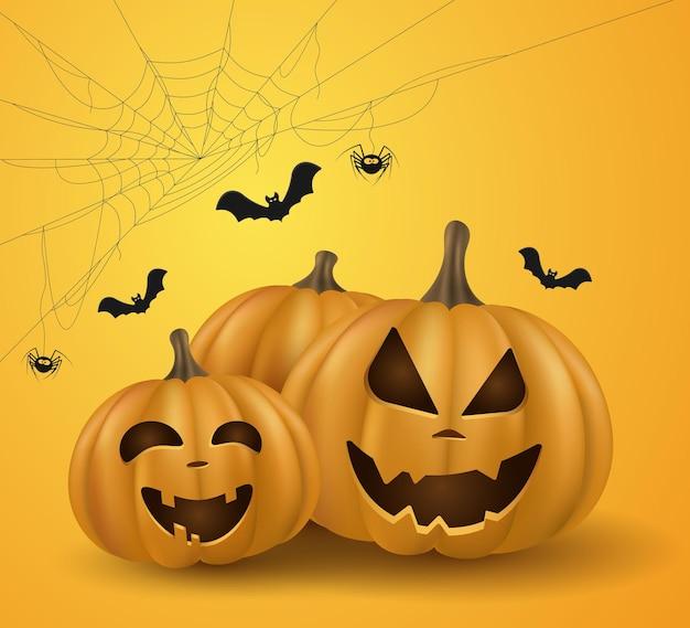 Abóboras 3d de desenhos animados emocionais para o feriado de halloween. capa festiva. doçura ou travessura. teia de aranha com aranha e morcegos. ilustração vetorial