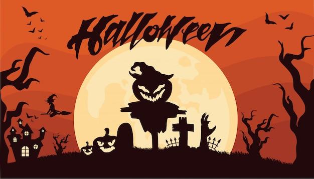 Abóboras assustadoras no cemitério halloween background