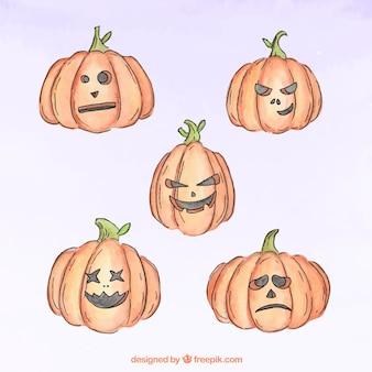 Abóboras assustadores pintadas com aguarelas