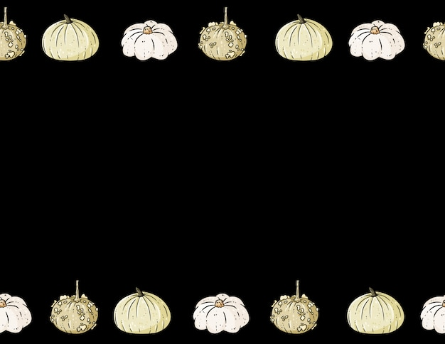 Abóboras coloridas bonitos dos desenhos animados quadro no escuro