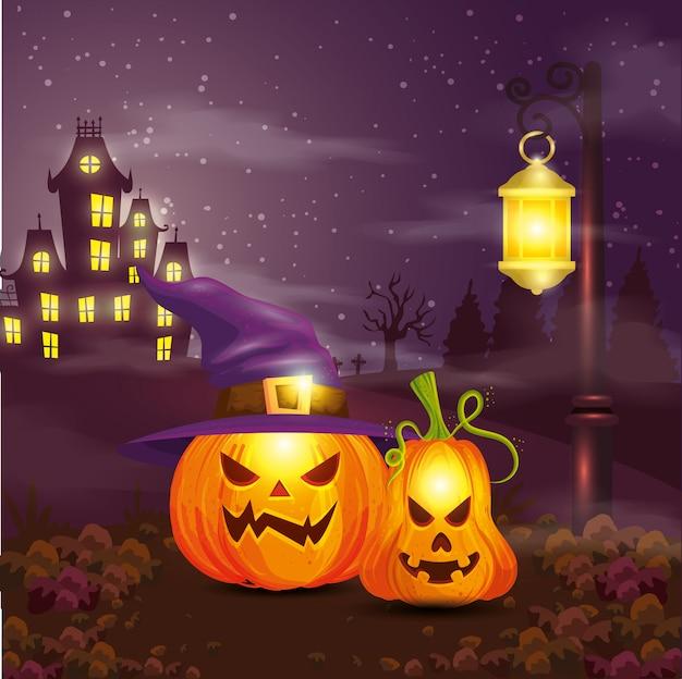 Abóboras com bruxa de chapéu na cena ilustração de halloween