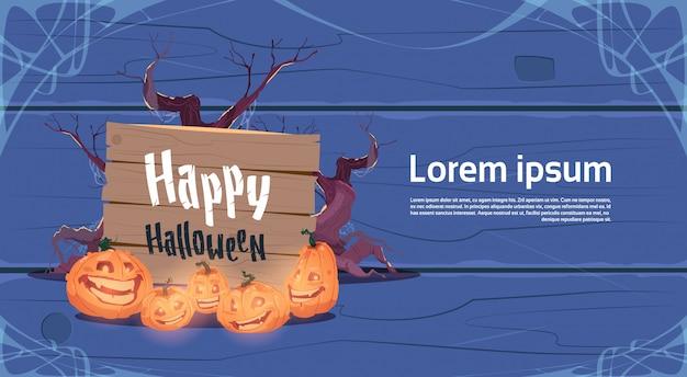 Abóboras de bandeira de festa de halloween feliz decoração tradicional cartão
