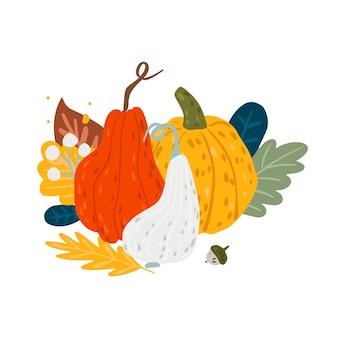 Abóboras de composição de outono, folhas e grãos.