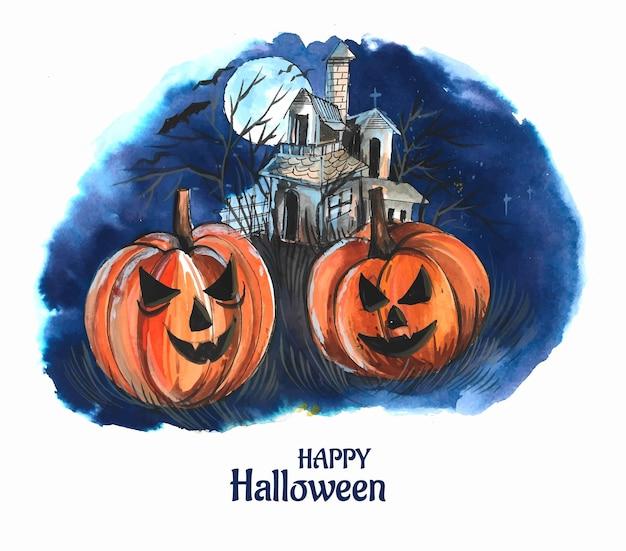 Abóboras de fundo de noite de halloween e desenho de castelo escuro