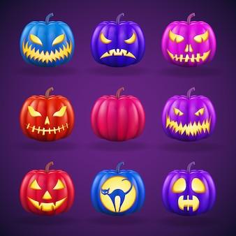Abóboras de halloween ajustadas com faces diferentes. ilustração detalhada realista