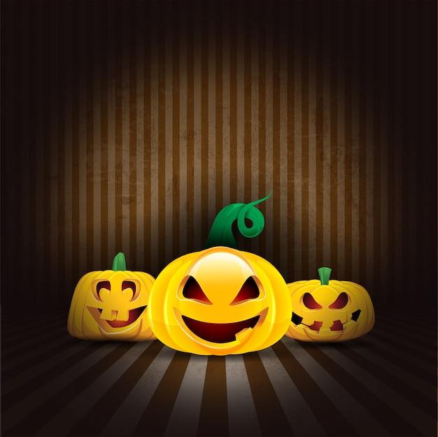 Abóboras de halloween assustadoras em um interior de estilo grunge