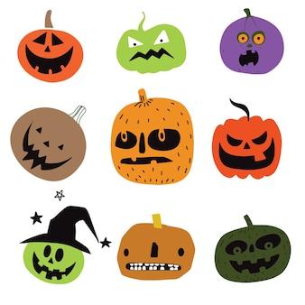 Abóboras de halloween bonito. isolado no fundo. vect estilo simples