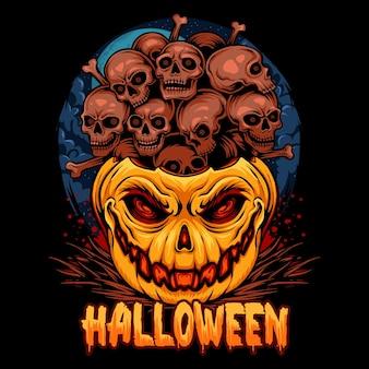 Abóboras de halloween cheias de pilhas de crânios muito assustadoras
