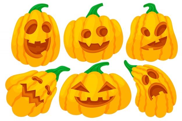 Abóboras de halloween coloridas com caretas.