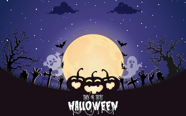 Abóboras de halloween com floresta assustadora à noite