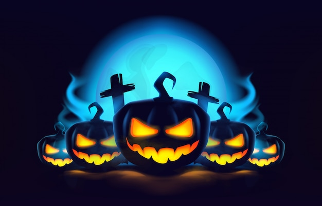 Abóboras de halloween com fumaça, lua noturna e túmulos.