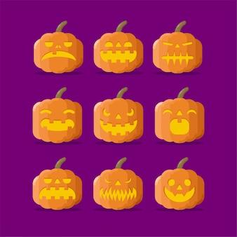 Abóboras de halloween com ilustração plana de várias expressões