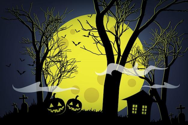 Abóboras de halloween e casa escura na lua amarela.