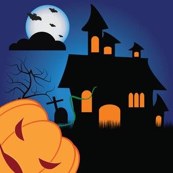 Abóboras de halloween e castelo escuro