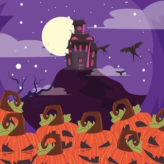 Abóboras de halloween e castelo